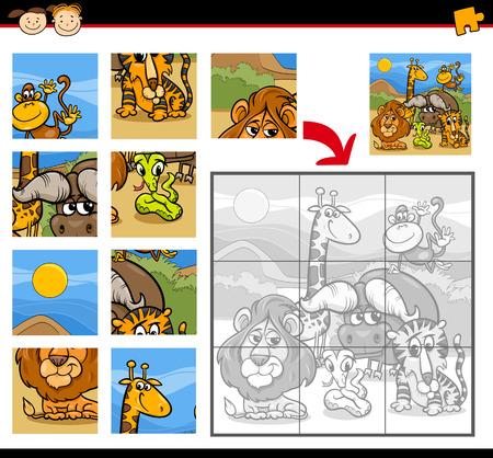 animales safari: Ejemplo de la historieta Educación Jigsaw Puzzle juego por niños en edad preescolar con Animales de Safari Caracteres Grupo