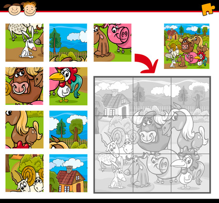 farm animals: Cartoon Illustration of Education Jigsaw Puzzle Game for Preschool Children with Farm Animals Characters Group