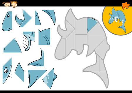 Cartoon Illustration of Education Jigsaw Puzzle Game for Preschool Children with Funny Shark Fish Animal Character