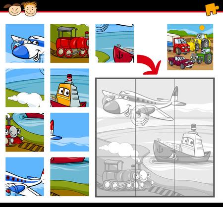 tren caricatura: Ejemplo de la historieta Educación Jigsaw Puzzle juego por niños en edad preescolar con vehículos Caracteres Grupo