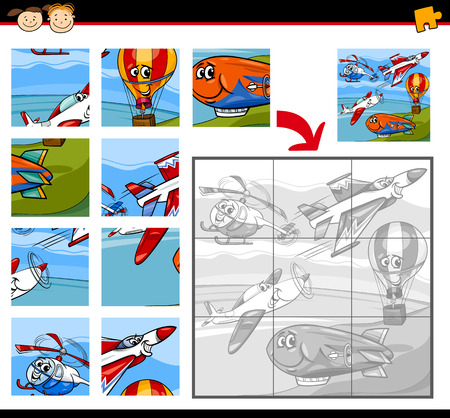 brain teaser: Cartoon Illustration of Education Jigsaw Puzzle Game for Preschool Children with Aircraft Transportation Characters Group Illustration
