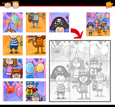 Cartoon Illustration of Education Jigsaw Puzzle Game for Preschool Children with Kids on Masked Ball