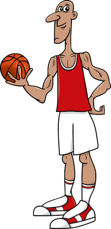 humor: Cartoon Illustrations of Basketball Player Sportsman with Ball