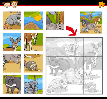 brain teaser: Cartoon Illustration of Education Jigsaw Puzzle Game for Preschool Children with Wild Australian Animals Characters Group
