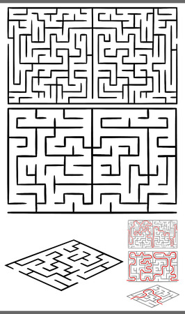 playschool: Set of Mazes or Labyrinths Graphic Diagrams for Children Education