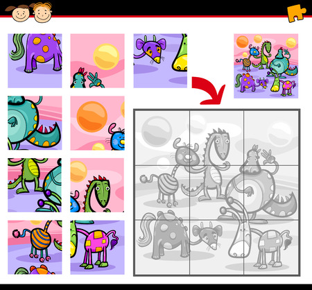 Cartoon Illustration of Education Jigsaw Puzzle Game for Preschool Children with Fantasy Animals Characters Group