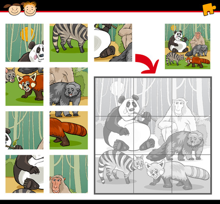 Cartoon Illustration of Education Jigsaw Puzzle Game for Preschool Children with Wild Animals Characters Group Illustration