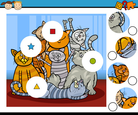 playschool: Cartoon Illustration of Match the Pieces Educational Game for Preschool Children