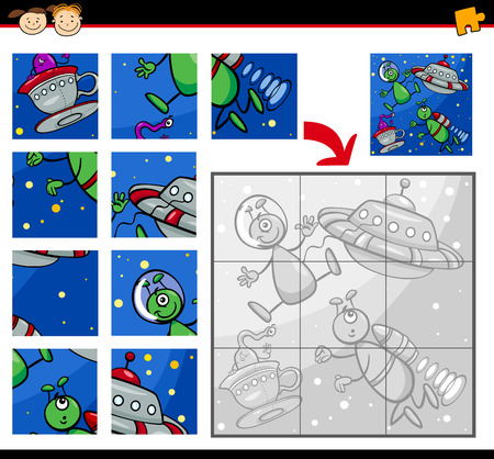 brain game: Cartoon Illustration of Education Jigsaw Puzzle Game for Preschool Children with Aliens Characters in Space
