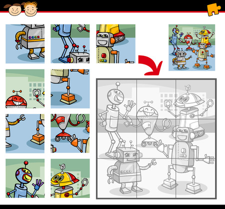 playschool: Cartoon Illustration of Education Jigsaw Puzzle Game for Preschool Children with Robots Characters Group