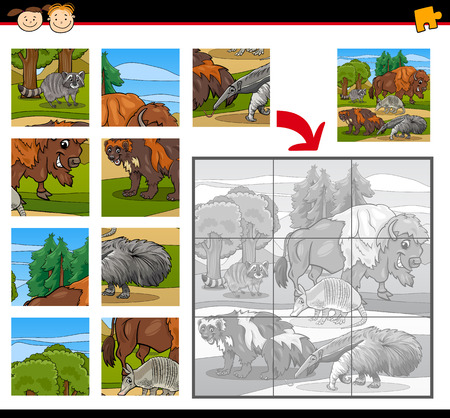 playschool: Cartoon Illustration of Education Jigsaw Puzzle Game for Preschool Children with Wild Animals Characters Group Illustration