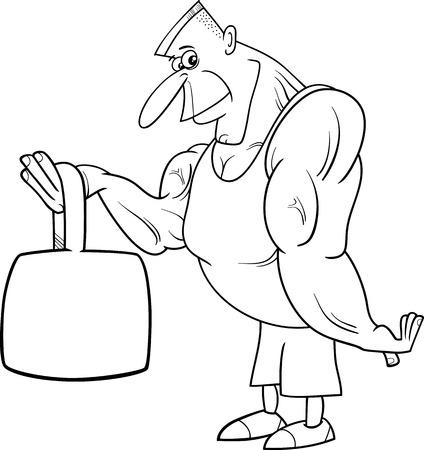hombre fuerte: Blanco y negro de dibujos animados Ilustraciones de atleta o Hombre Fuerte Deportista con pesas para Coloring Book