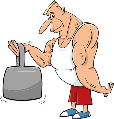 caricaturas de personas: Cartoon Ilustraciones de atleta o deportista hombre fuerte con peso