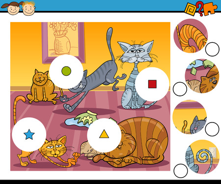 Cartoon Illustration of Match the Pieces Educational Game for Preschool Children  Illustration