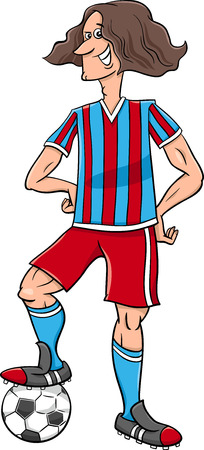 football player: Cartoon Illustrations of Football or Soccer Player Sportsman with Ball