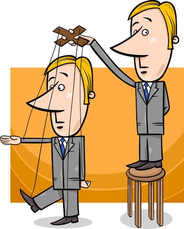 Concept Cartoon Illustration of Puppeteer Businessman Controlling other Man Illustration