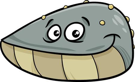 cozza: Cartoon illustrazione di Funny Mitili Mollusco Sea Animal
