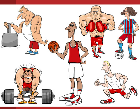 team building: Cartoon Illustration of Sportsmen and Sports Discipline