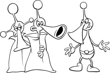 Black and White Cartoon Illustration of Funny Aliens or Martians Comic Characters for Coloring Book