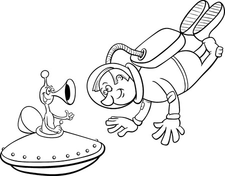 spaceman: Black and White Cartoon Illustration of Spaceman or Astronaut with Alien in Space for Coloring Book
