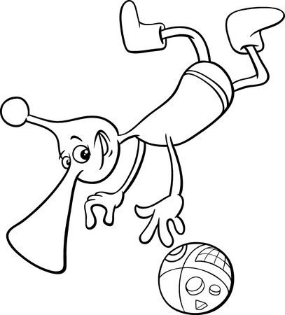 martian: Black and White Cartoon Illustration of Funny Alien or Martian Character in Space for Coloring Book