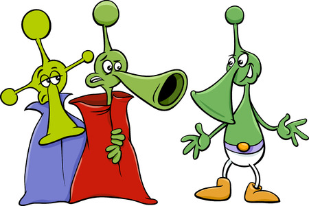 Cartoon Illustration of Funny Aliens or Martians Comic Characters