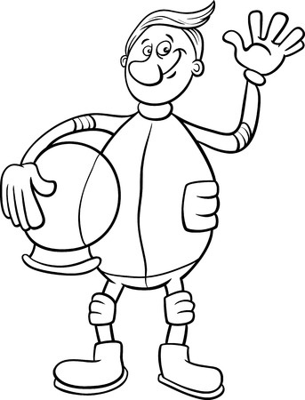 spacesuit: Black and White Cartoon Illustration of Spaceman or Astronaut in Spacesuit for Coloring Book