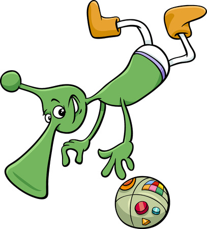 gravitation: Cartoon Illustration of Funny Alien or Martian Character in Space Illustration