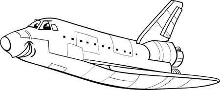 space shuttle: Black and White Cartoon Illustration of Funny Space Shuttle Comic Character for Coloring Book