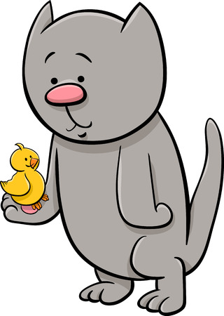 canary: Cartoon Illustration of Cat or Kitten with Canary