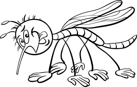 malicious: Black and White Cartoon Illustration of Mosquito Insect Character for Coloring Book