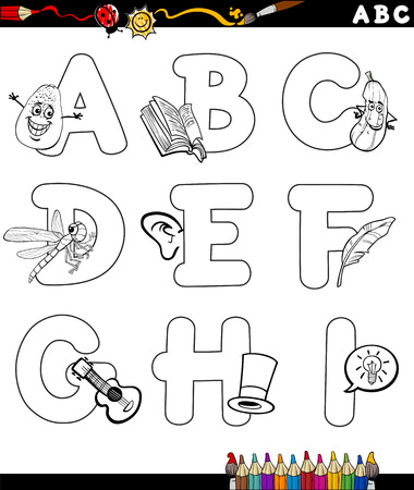primer: Black and White Cartoon Illustration of Capital Letters Alphabet with Objects for Children Education from A to I for Coloring Book
