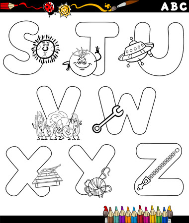 children s book: Black and White Cartoon Illustration of Capital Letters Alphabet with Objects for Children Education from S to Z for Coloring Book Illustration