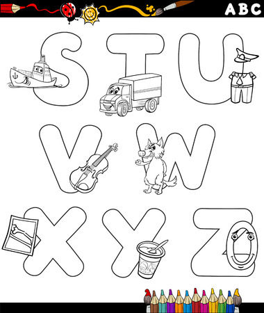 primer: Black and White Cartoon Illustration of Capital Letters Alphabet with Objects for Children Education from S to Z for Coloring Book Illustration
