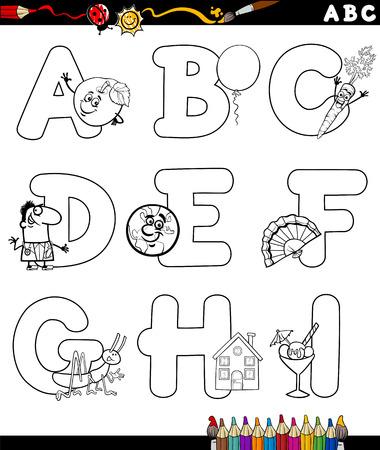 children education: Animados Blanco y Negro Ilustraci�n de la capital letras del alfabeto con objetos de Educaci�n Infantil de la A a I para Coloring Book Vectores