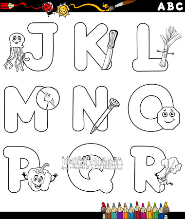 book pages: Black and White Cartoon Illustration of Capital Letters Alphabet with Objects for Children Education from J to R for Coloring Book Illustration