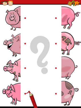 brain teaser: Cartoon Illustration of Education Join Elements Game for Preschool Children with Pig Animal Characters