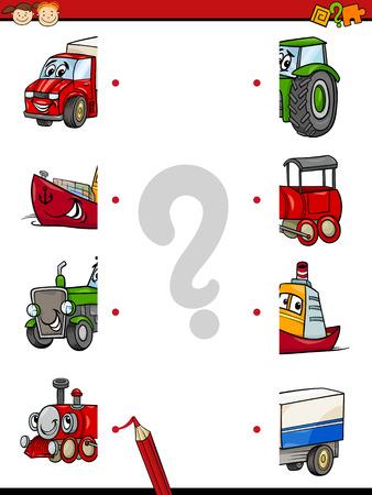 preescolar: Cartoon Ilustración de juego Educación de Mitades Matching para niños en edad preescolar con caracteres Transporte Vectores