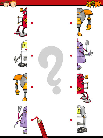 Cartoon Illustration of Education Matching Halves Game for Preschool Children with Funny Robots Characters