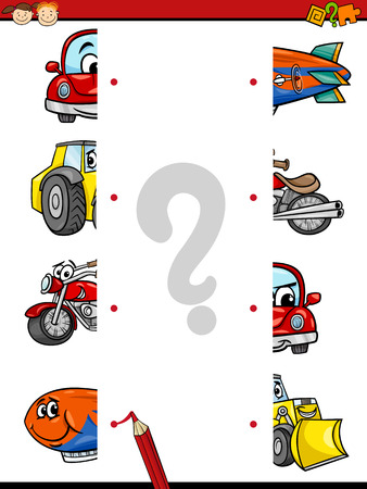 Cartoon Illustration of Education Halves Joining Game for Preschool Children with Transportation Characters Vectores
