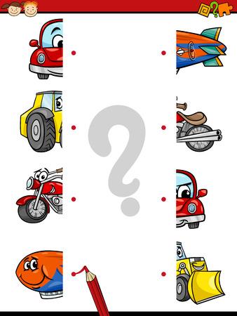 Illustration de bande dessinée de moitiés éducation Joining jeu pour enfants d'âge préscolaire avec Transports Personnages Banque d'images - 42612119