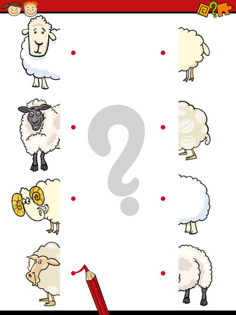 Cartoon Illustration of Education Matching Halves Game for Preschool Children with Sheep Animal Characters 向量圖像