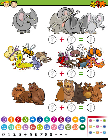 brain puzzle: Cartoon Illustration of Education Mathematical Calculation Game for Preschool Children