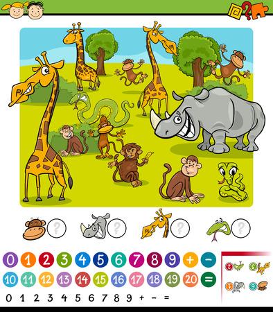 Cartoon Illustration of Education Mathematical Game for Preschool Children with Safari Animals