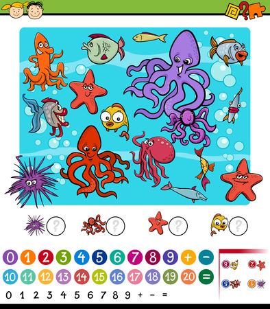 preescolar: Ejemplo de la historieta de Educación Matemática de juegos para niños en edad preescolar con Vida marítima Animales