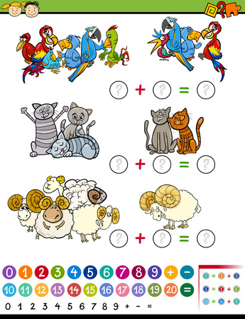 Cartoon Illustration of Education Mathematical Game of Counting Animals for Preschool Children