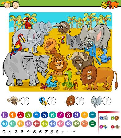 Cartoon Illustration of Education Mathematical Game of Counting Safari Animals for Preschool Children