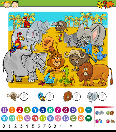 Cartoon Illustration of Education Mathematical Game of Counting Safari Animals for Preschool Children Zdjęcie Seryjne - 42795584