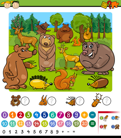 Cartoon Illustration of Education Mathematical Game of Animals Counting for Preschool Children Ilustração