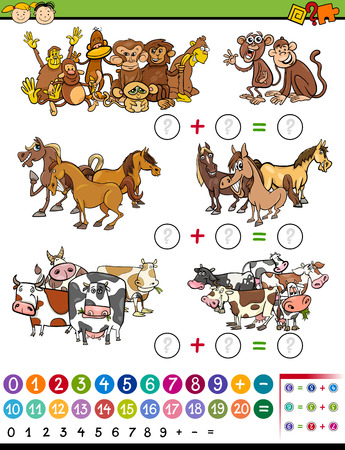 Cartoon Illustration of Education Mathematical Counting Game for Preschool Children